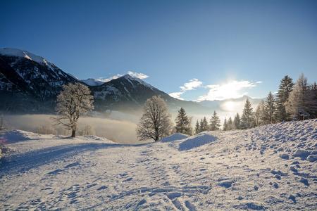 View to a winter landscape with mountain range of Gasteinertal valley near Bad Gastein, Pongau Alps - Salzburg Austria Europe 写真素材
