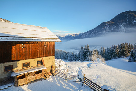 old barn in winter: Winter landscape with old barn near Bad Gastein, Pongau Alps - Salzburg Austria Europe