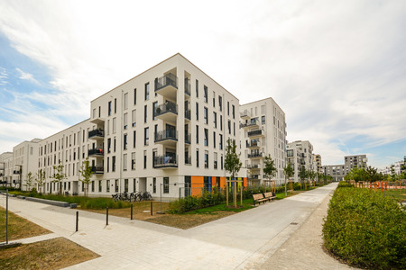 Modern residential buildings with outdoor facilities, Facade of new low-energy houses