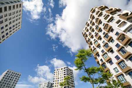 Apartment towers in the city - Facade of new modern residential buildings