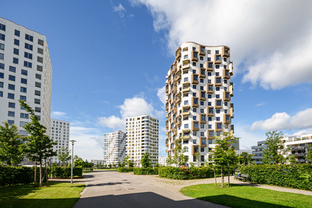 low energy: Apartment towers in the city - modern residential buildings with low energy house standard Stock Photo