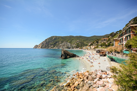 Cinque Terre: View to the beach of Monterosso al Mare in early summer, Liguria Italy Europe