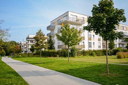 New apartment building - modern residential development in a green urban settlement Editoriali