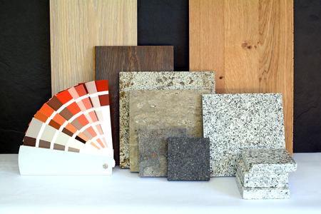 Material pattern parquet, natural stone, tiles, wooden planks, color card for apartment building, Renovation interior work 스톡 콘텐츠