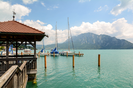 Jetty in Unterach at lake Attersee in austrian alps near Salzburg, Austria Europe