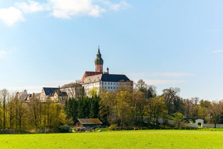 Benedictine priory Andechs Abbey at lake Ammersee near Munich in spring, Bavaria Germany, Europe Stok Fotoğraf