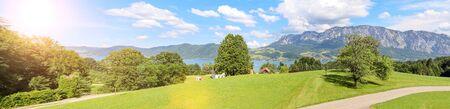 View to lake Attersee with alpine pasture, Mountains of austrian alps near Salzburg, Austria Europe Stok Fotoğraf