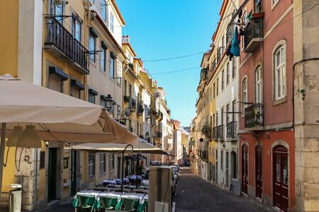 View to the Bairro Alto district in the historic center of Lisbon, traditional facades in the streets of the old town, Portugal Europe Stok Fotoğraf - 129322640