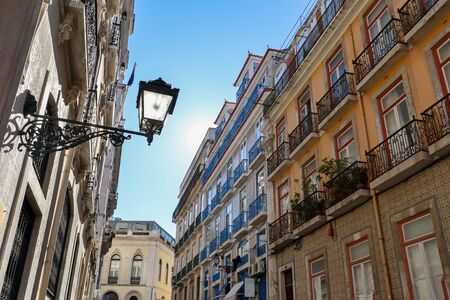 View to the Bairro Alto district in the historic center of Lisbon, traditional facades in the streets of the old town, Portugal Europe