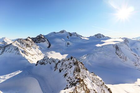 View from Pitztal glacier into the high alpine mountain landscape with Wildspitze summit in winter with lots of snow and ice, Austrian Alps in Tirol Austria