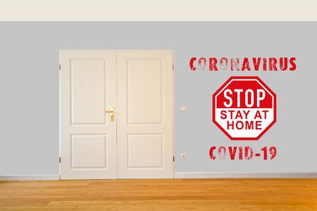 Stay at home during Corona Virus Covid-19 crisis, closed door for quarantine and home office Standard-Bild