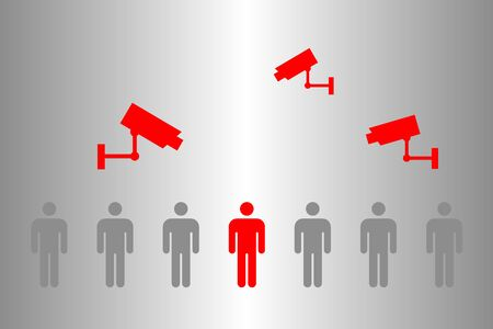 Surveillance with CCTV video and mobile phone app for the detection of people with Corona virus (Covid-19) by fever and distance measurement during quarantine, Stop coronavirus after lockdown Standard-Bild