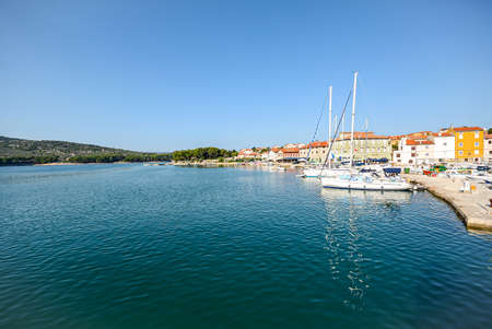 View to harbour with old town of Cres, Adriatic sea, Island of Cres, Istria Croatia Europe 報道画像