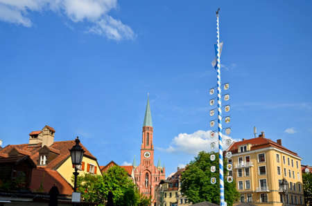 View to historical Maypole at square