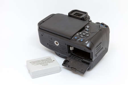 digital camera with open battery compartment 版權商用圖片