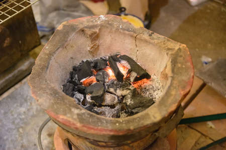 firebox: Old clay stove for traditional cooking in Thailand