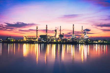 Sunrise Oil Refinery at Twilight in Bangkok, Thailand