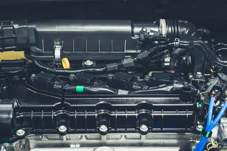 Close up shot of car engine for background