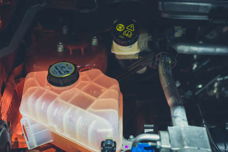 Coolant tank and warning information,engine in car