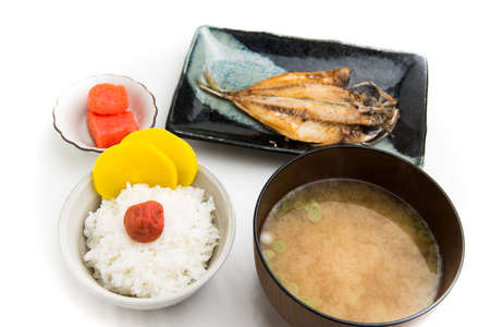 rice, miso soup, umeboshi, takuan, aji no hiraki