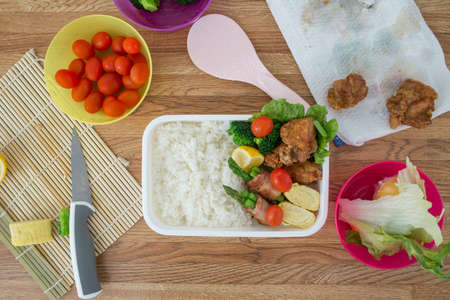 making bento, japanese style lunch box