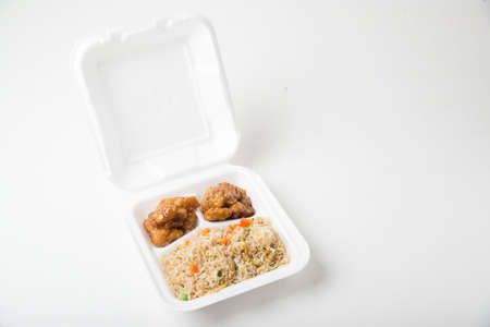 container box: orange chicken and fried rice