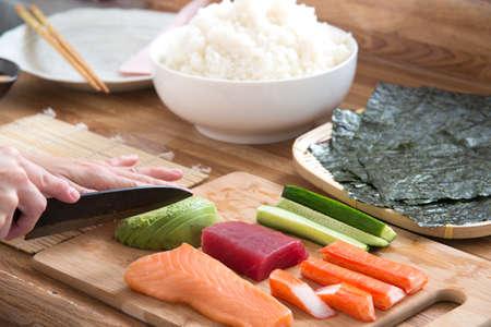 prepareing for cooking sushi 版權商用圖片