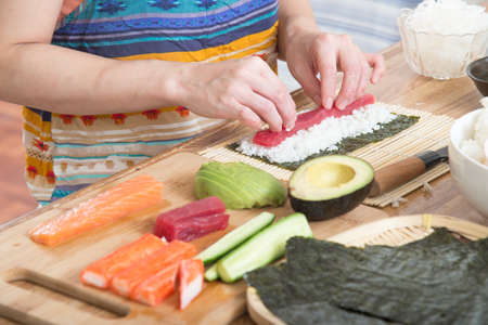home cooking: cooking roll sushi Stock Photo