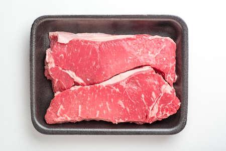 new york strip: raw new york strip steak