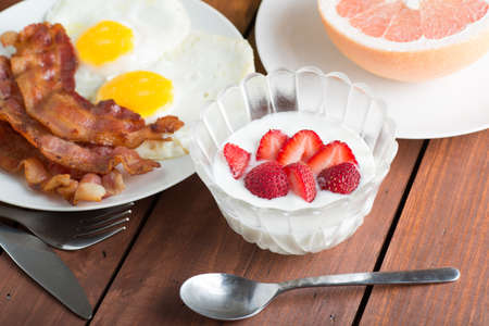 sunnyside: breakfast Yoghurt Stock Photo