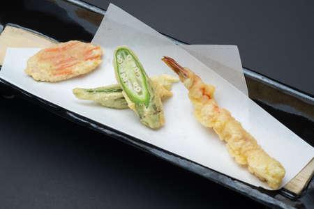tempura of carrot, okura, shrimp