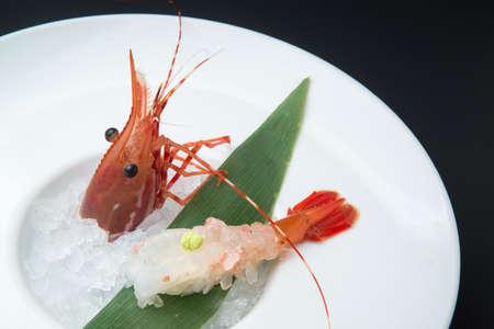 jumbo shrimp: jumbo shrimp sushi with head Stock Photo