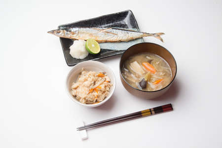 japanese autumn food, sanma, tonjiru, takikomi gohan Stock Photo