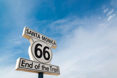 santa monica: sign of route 66 at santa monica Stock Photo