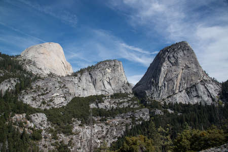 national scenic trail: View of Half Dome, Mt. Broderick, Liberty Cap from  John Muir Trail, Yosemite Stock Photo