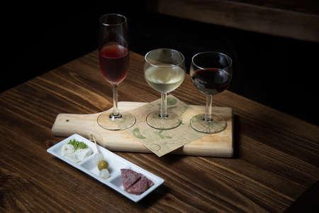 rose, red, white wine sampler