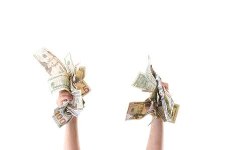 hand grabbing money Stock Photo