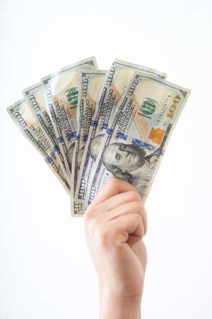 hand geld grijpen Stockfoto