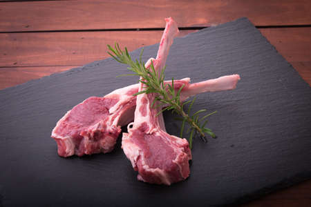 isolated raw lamb meat