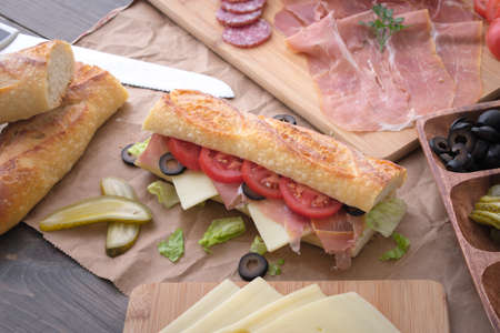 cooking italian sandwich