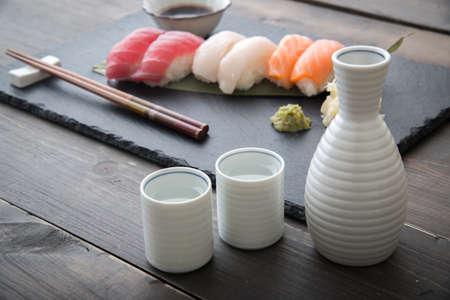japanese sake and sushi