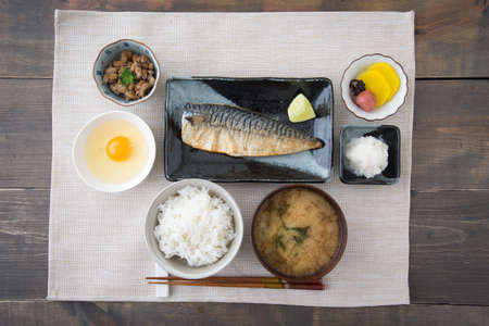traditional japanese breakfast with mackerel