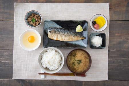 traditional japanese breakfast with mackerel