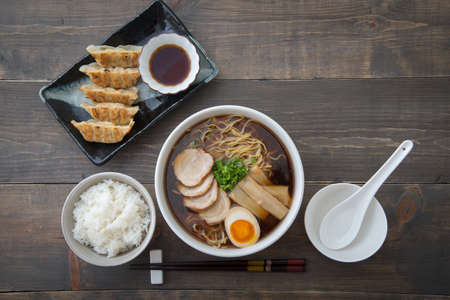 traditional tokyo style ramen with dumpling Stock Photo