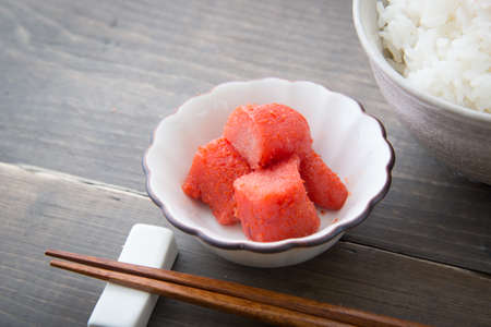 processed grains: Mentaiko, spicy Cod Roe with rice Stock Photo