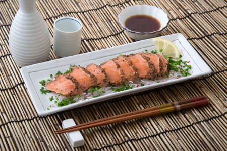 japanese salmon tataki with ponzu sauce Stock Photo