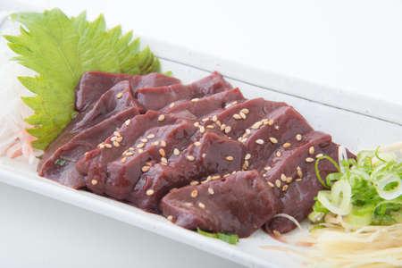 beef liver sashimi, japanese raw food