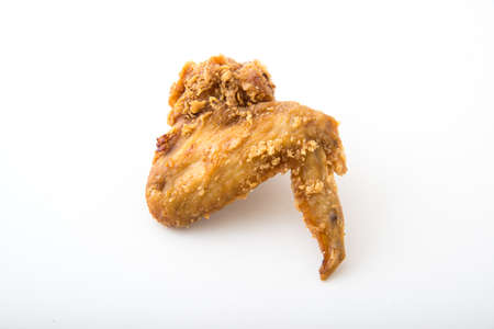 isolated fried chicken wing on white background