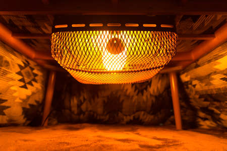 inside of japanese kotatsu table heater