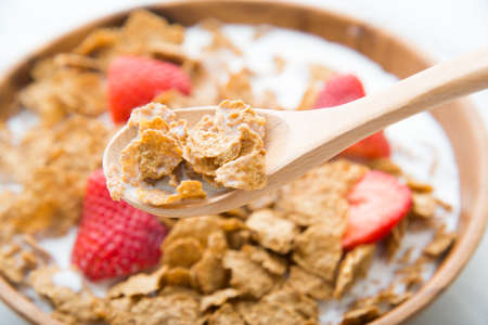 corn flakes with strawberry